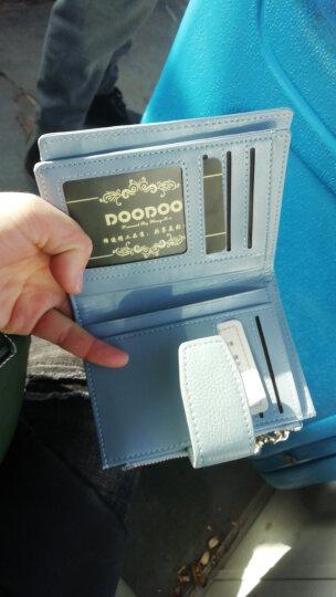 DOODOO 时尚女士钱包 头层牛皮短款钱包女式手拿包三折多功能卡包 D6886亚麻蓝 晒单图
