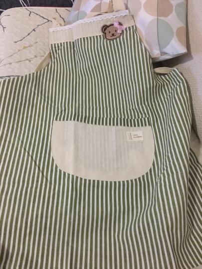利得韩版时尚棉麻围裙 小熊双层防水围裙 条纹西瓜红 厨房可爱做饭烘焙 晒单图