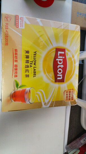 立顿Lipton 奶茶原料 红茶 茶叶 黄牌精选红茶200包400g 袋泡茶茶包 餐厅奶茶店(新旧包装交替发货) 晒单图