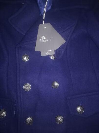 vanuucci男士羊毛呢大衣中长款双排扣加厚款青年呢子大衣冬季韩版妮子外套风衣 83555宝蓝色 XL/(143-156斤) 晒单图
