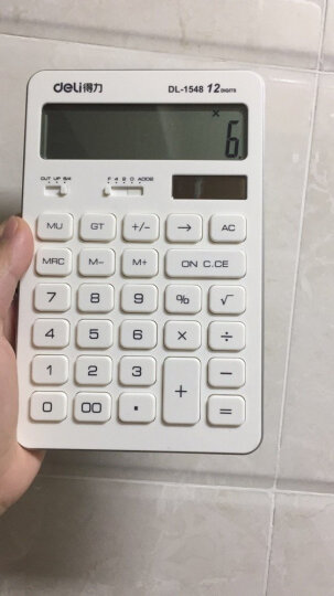 得力(deli)双电源平板式计算器 12位大屏桌面计算机 白色 晒单图