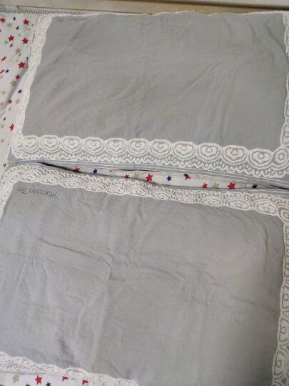 三利 纯棉提花纱布枕巾2条装 AB版正反两用 50×75cm 碎花元素-墨绿色 晒单图