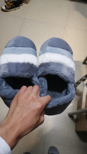 惠夫人 冬季棉拖鞋男士厚底简约半包跟室内家居家木地板防滑软底情侣大码保暖鞋 双色条全包 藏青 42-43码/适合41-42码穿 晒单图