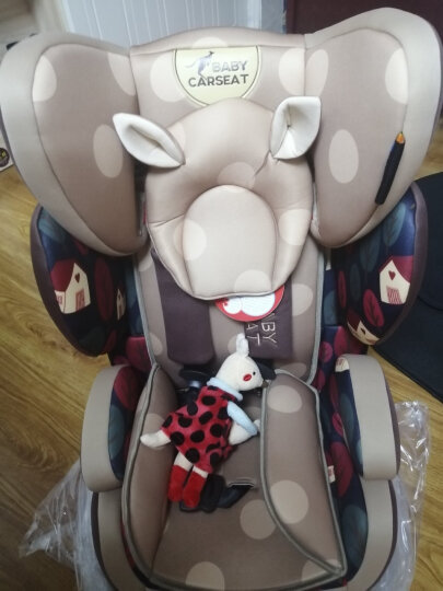 贝贝卡西 【官方旗舰】汽车儿童安全座椅车载宝宝坐椅婴幼儿座椅汽车用增高坐垫9个月-7-12岁3C认证 升级款-咖色松果 晒单图