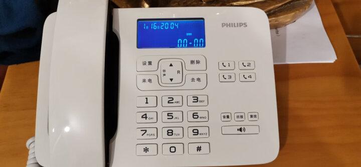 飞利浦(PHILIPS)电话机座机 固定电话 办公家用 来电报号 双插孔 一键拨号 CORD492 (白色) 晒单图