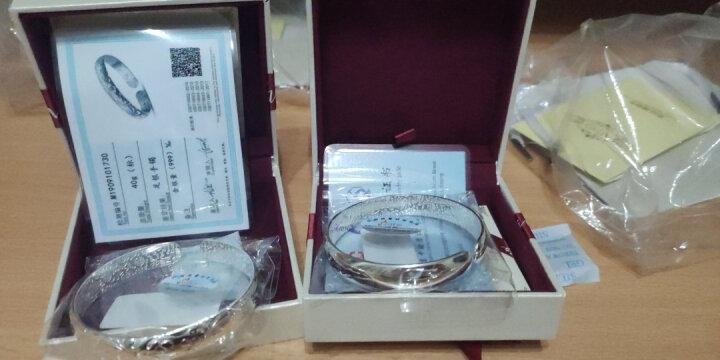 唯一银手镯女士款送妈妈999足银镯子光面简约荷花福字传统银首饰品配证书母亲老人礼物40±1克 晒单图