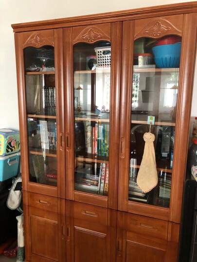 实为 书柜 全实木书柜书架书橱组合书柜带玻璃门办公室中式落地书柜墙客厅储物柜现代简 【升级版】-浅茶色 实木三门 晒单图