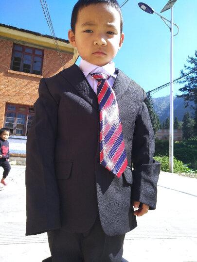 童星闪闪(MORSAISTAR) 男童西装西服小孩花童礼服小西装外套春装演出服 白色五件套配领结送背带 130适合126-135CM高 晒单图