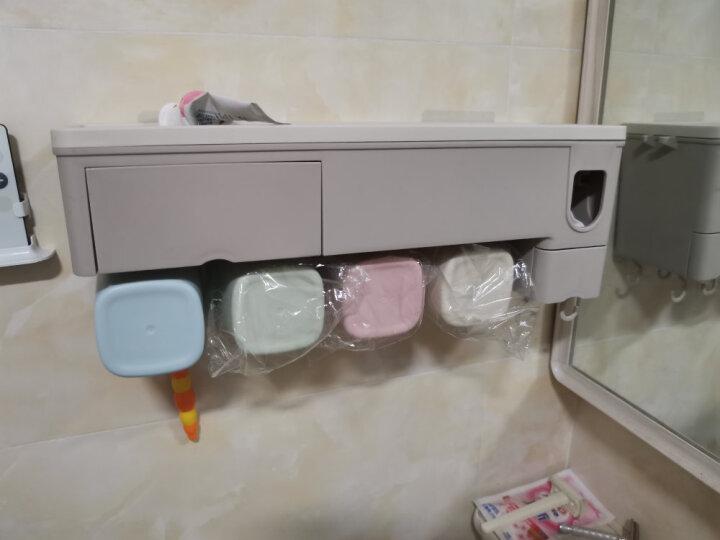 乐艺佳吸盘牙刷架漱口杯免打孔刷牙杯洗漱套装卫生间浴室置物架用品-带挤牙膏器 情侣 晒单图