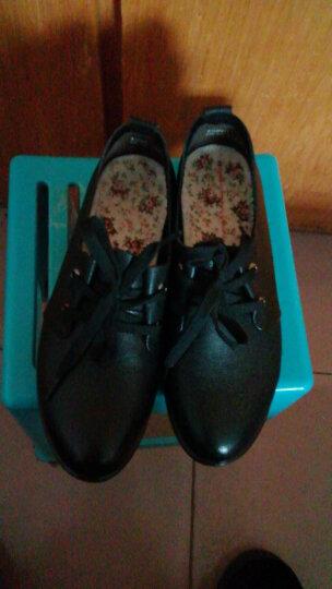 红蜻蜓女鞋 秋季时尚休闲皮鞋系带平底鞋大码圆头软底妈妈鞋单鞋 WTB56211/12 棕色 37 晒单图