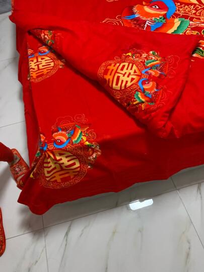 南极人 婚庆磨毛全棉四件套 保暖纯棉大红床品套件 情侣结婚双人被套加厚床单床上用品 HQ-天长地久(C款) 【四件套】1.5m床-被套200*230cm 晒单图