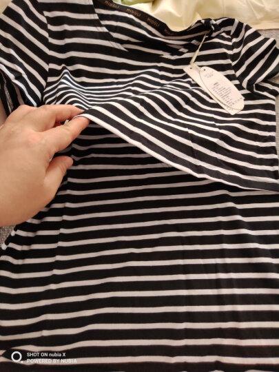 米度丽 【2件9折】哺乳衣外出长袖上衣春夏时尚产后喂奶衣夏打底衫哺乳t恤短袖 短袖款-灰底白条 L 晒单图