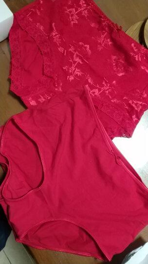 蝶安芬 女士内裤女4条纯红棉质蕾丝本命年大红喜庆红中腰女式平角裤礼盒装 礼盒A XL码 晒单图