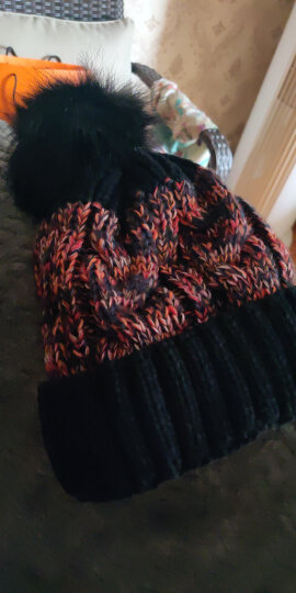 Tsful 帽子女冬季时尚简约拼色可爱保暖护耳针织毛线帽子月子帽 CM3006A 酒红 晒单图