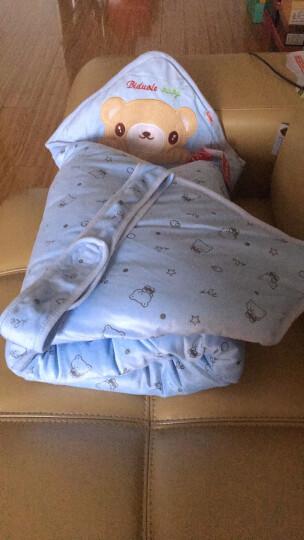 尹珂儿(ICEOL)官方正品初生婴儿抱被春夏季薄款纯棉宝宝包被抱毯包巾新生儿用品防惊跳襁 蓝色水晶绒秋冬厚款可脱胆 0_12个月 晒单图