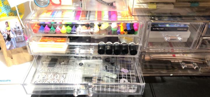 【2件8折】亚加丽加 透明大号化妆品收纳盒 防尘带盖式护肤品置物架梳妆台桌面整理盒 加高 两矮两高抽屉(27*18*12.7cm) 晒单图