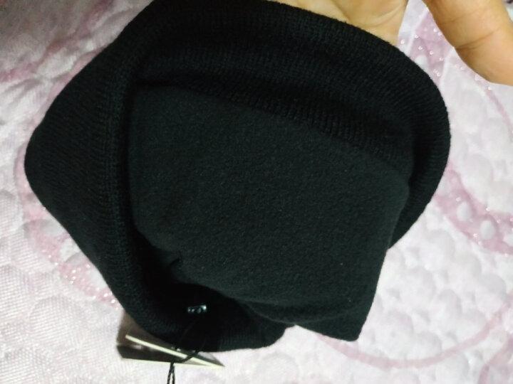cacuss羊毛毛线帽男士双层加绒加厚保暖护耳帽翻边冬季针织男女潮帽子男Z0079 帽子围巾两件套(藏青) 晒单图