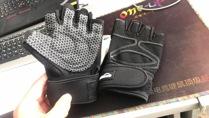 曼迪卡威健身手套男女运动手套单杠器械训练耐磨防滑半指护具加长护腕 黑色男款XL号 晒单图