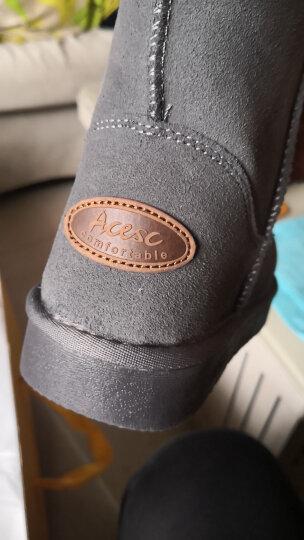 艾斯臣雪地靴女中筒冬靴防滑牛皮男女鞋大码2020新款棉鞋百搭 灰色 37 晒单图