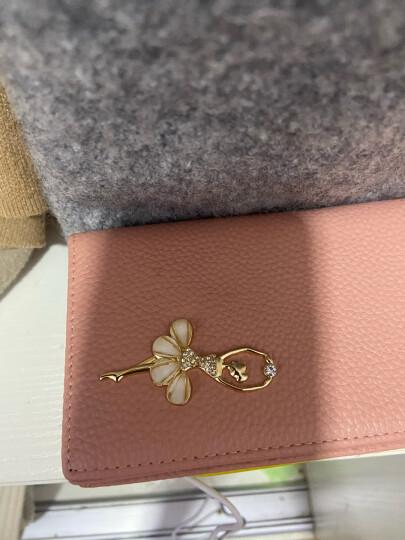 稻草人(MEXICAN)女士钱包镶钻头层牛皮长款钱夹MXD30494L-02玫红色 晒单图