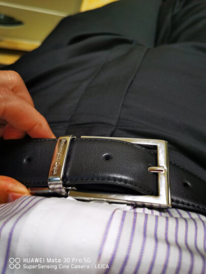 Ermenegildo Zegna 杰尼亚 男士棕色黑色牛皮双面休闲针扣腰带  ZPJ45 902 NTM 105 晒单图