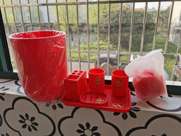 佳佰 开运系列洗漱六件套 漱口杯香皂盒浴花垃圾桶拖盘浴室用品婚庆礼盒6件套 红色 晒单图