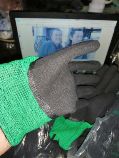 得龙发泡王 手套劳保 半挂 胶手套 乳胶皱纹防滑耐磨胶皮工业手套工作劳动防护手套批发12双 绿黑色 晒单图