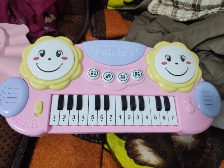 育儿宝 儿童电子琴钢琴0-1-3-6岁男孩女孩宝宝婴儿音乐玩具 拍拍鼓电子琴【粉色】 晒单图