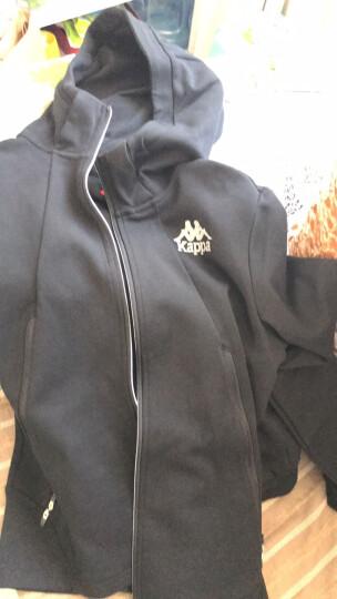 Kappa卡帕 男款运动卫衣休闲长袖开衫帽衫外套|K0752MK05 黑色-990 XL 晒单图