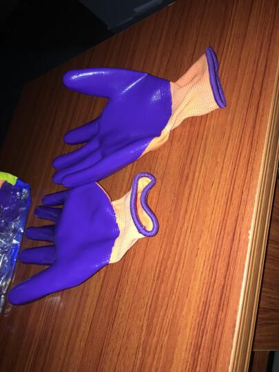 星宇XINGYU劳保手套N598 紫尼龙丁腈浸胶耐磨防油半挂透气薄款劳作防护手套12副企业专享 紫色 M码12副 晒单图