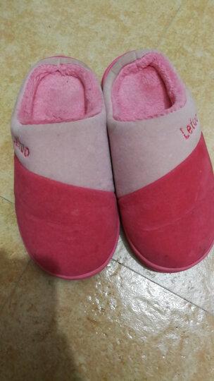 乐拖情侣棉拖鞋男女室内防滑保暖冬天拖鞋加绒半包跟 西红 40/41(建议39/40穿) 晒单图