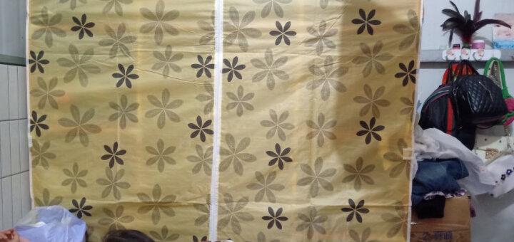【骆驼】简易衣柜实木牛津布衣柜简易衣橱木质组合衣柜双人布衣橱防潮加大号1.5米 E款格子(6面花布套) 晒单图