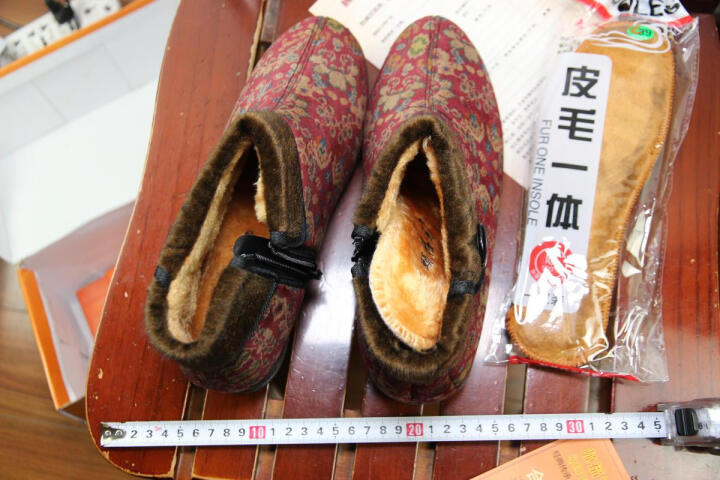 颐福元老北京布鞋妈妈鞋女冬季棉鞋中老年加绒保暖高帮奶奶老人鞋防滑软底 牡丹花红色 37 晒单图