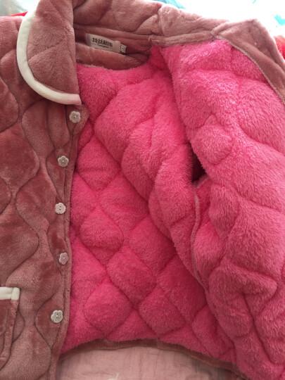 特丝格斯 睡衣女冬加厚套装珊瑚绒保暖夹棉衣加大码加绒法兰绒家居服 1379波点灰色 M-(三层加厚夹棉) 晒单图