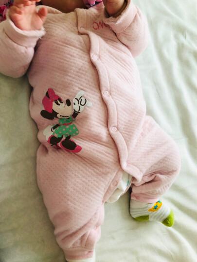 迪士尼宝宝连体衣婴儿衣服长袖前开闭裆哈衣秋冬款睡衣DA642GA18P0173浅粉 晒单图