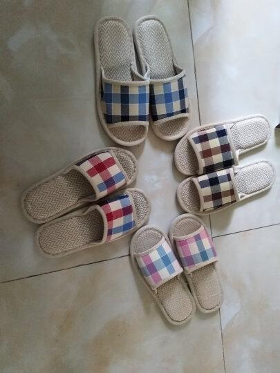 恋家 家居亚麻拖鞋时尚格子地板拖 咖啡格 42/43 LJ815012 晒单图