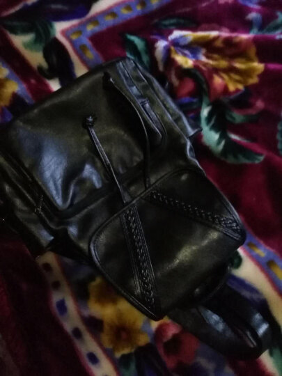 新款双肩包女包休闲女士背包时尚旅行上班大容量背包韩版学院风书包 无拉链款黑色 晒单图