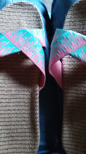 开妮特拖鞋女春夏季家居室内亚麻拖鞋情侣款男女士静音地板拖防滑耐磨防臭室外露趾家用凉拖鞋一字拖1045 1025粉蓝色女 25cm(37/38) 晒单图