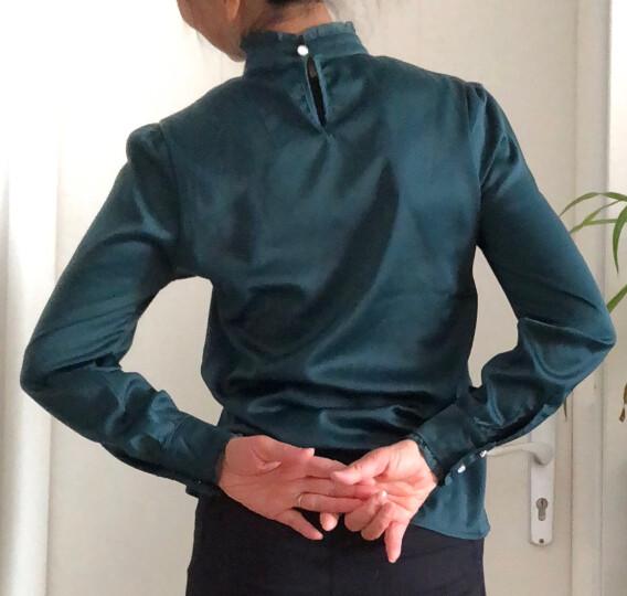 默特衬衫女长袖2020秋新款韩版职业立领荷叶边衬衣女上衣打底衫 波点 M(96斤-105斤) 晒单图