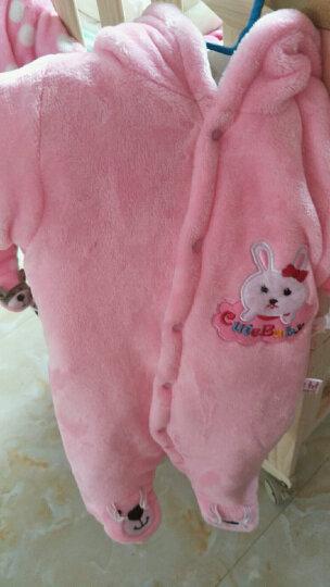 婴儿衣服冬装加厚法兰绒婴儿连体衣男女宝宝衣服0-1岁 棕色猫咪 9M(73cm建议12-16斤) 晒单图