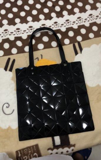 台湾DB女包几何菱格手提单肩包个性镭射百搭女士包包2019新品 镜面黑色 晒单图
