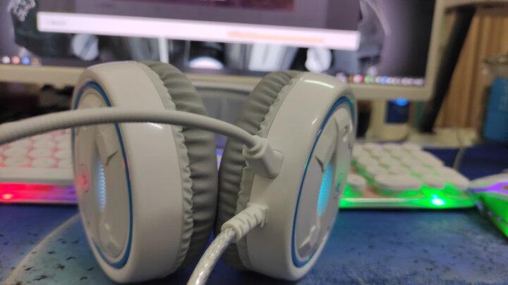 前行者(EWEADN) 电脑耳机头戴式耳麦有线游戏耳机网吧笔记本台式吃鸡听声辩位电竞带麦克风话筒 G60白色七彩光版【3.5mm升级版】 晒单图