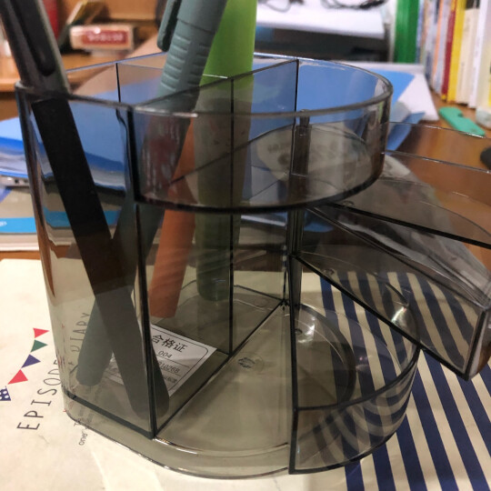 晨光(M&G)文具黑色透明三层时尚笔筒 多功能办公桌面收纳盒 学生小物品收纳神器 单个装ABT98443 晒单图