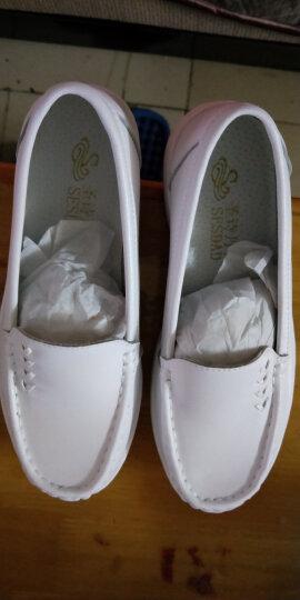 圣诗丹特真皮护士鞋白色气垫单鞋 冬季舒适女鞋透气轻便软底工作鞋 中跟学院鞋 白色6767 37 晒单图