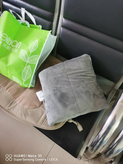 飞天 双面加大抱枕被子两用抱枕毯 办公室午休被靠垫被 深灰色(口袋无拉链) 大号1.5*2.1m 晒单图
