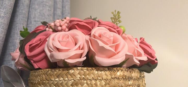 I'M HUA HUA21朵香皂玫瑰花花束礼盒粉色复古筐创意礼品鲜花速递七夕情人节礼物送女友送老婆 晒单图