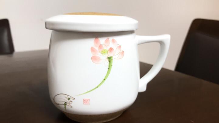 享礼 手绘茶杯陶瓷带盖过滤办公室茶具景德镇品茗杯主人杯单杯个人杯花茶水杯子紫砂杯泡茶喝茶杯茶水分离 佛手莲花 晒单图
