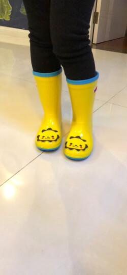 hugmii儿童雨鞋男童女童宝宝时尚卡通贴片小孩防滑水鞋 ZTPDWT221 猫头鹰17 晒单图