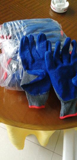 冬季耐磨防滑手套工地干活半挂胶手套 搬运工人加厚保暖起皱纹工作手套 2包共24付 300#灰蓝色 男M码中号劳保批发 晒单图