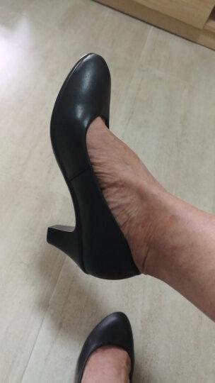 雅路世家新款正装中高跟职业鞋 圆头女单鞋 舒适妈妈鞋浅口工装皮鞋防水台舒适工作女鞋 3012黑色 38 晒单图